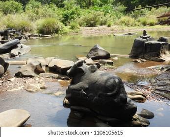 Nandi carved out of rock at Sahasralinga is situated in river Shalmala, Sirsi Taluk in the district of Uttara Kannada of Karnataka state in India.
