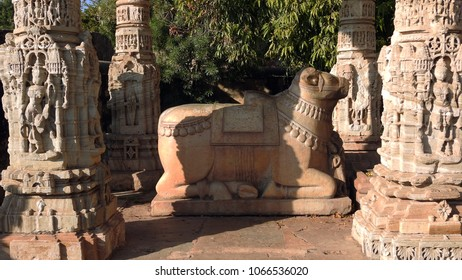 Nandi Statue in front of Samadhisvar Temple in Chittorgarh fort in Rajasthan, India. It was built by Bhoja Paramara in 11th century.