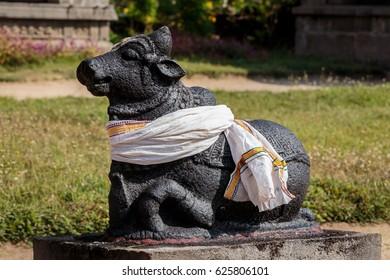 Nandi statue at shiva hindu temple in Vayalur village near chennai