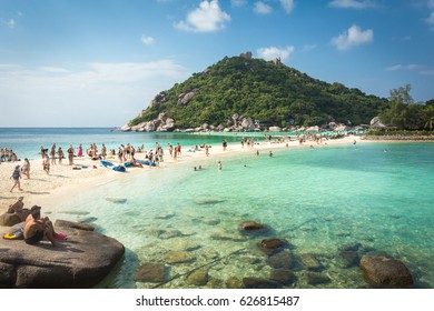 Nang Yuan, Thailand, February 17, 2017: Nang Yuan island is a small island next to Koh Tao famous for snorkelling and diving spots