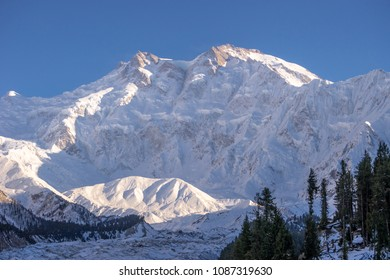 Nanga Parbat covered with white snow and evening sunlight up , Gilgit, Pakistan