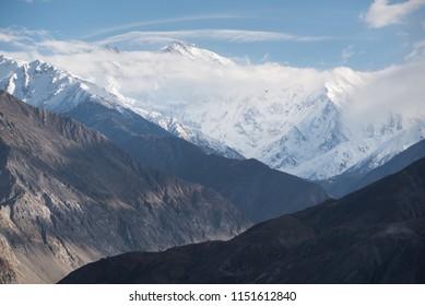 Nanga Parbat or The Killer Mountain seen from Karakorum Highway, Himalaya range, Gilgit Baltistan, north of Pakistan