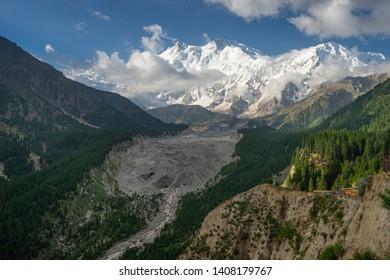 Nanga Parbat mountain massif at Fairy meadow in summer season, Himalaya mountain range, Pakistan, Asia