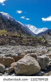 Nanga Parbat Mountain with small village in foreground , Gilgit, Pakistan