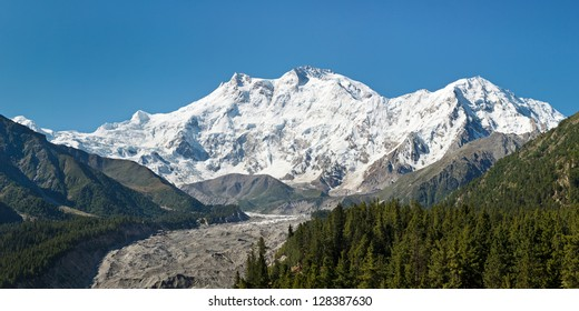 Nanga Parbat Panorama. The ninth highest mountain in the world and western anchor of the Himalayas is located in Gilgit-Baltistan, Pakistan.