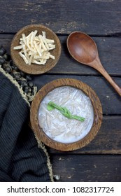 Nanggiu - a traditional dessert of Kadazan people. Nanggiu is equivalent to jelly or cendol, made of sago boiled with coconut milk, pandan leaf and sugar.