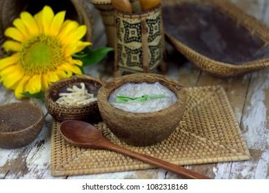 Nanggiu - a traditional dessert of Kadazan people.Nanggiu isequivalent to jelly or cendol, made of sago boiled with coconut milk, pandan leaf and sugar.