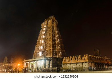 Nanjangud, Karnataka, India - Nov 17 2018. Gopuram of Srikantheshwara or Nanjundeshwara Temple.