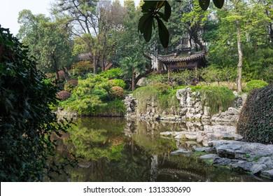 Nanjing - April 1: Zhanyuan on April 1, 2017 in Nanjing, China. Nanjing Zhanyuan, Suzhou style Garden.