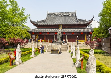 NANJING, CHINA - 17 APRIL 2015 - Avenue of statues leading up to the ancient Confucius Temple in the Fuzimiao area in the city centre.