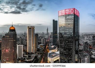 Nanjing, China - April 2016 - Nanjing Center, Nanjing is a modern city in China.