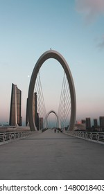 Nanjing, China August 12, 2019 17.41 p.m - The Nanjing Eye Bridge gets a beautiful impression because there is a twin structure underneath which is a sports museum.