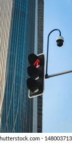 Nanjing, China August 12, 2019 16.54 p.m - Nanjing city red light to regulate traffic.