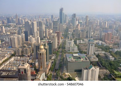 NANJING, CHINA - JUL.21, 2012: Aerial view of Nanjing Modern City Skyline Xinjiekou (South), viewed from Zifeng Tower in Gulou, Nanjing, Jiangsu Province, China.