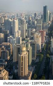 Nanjing / China - July 30th 2015: Skyscrapers and skyline view of Nanjing downtown, Nanjing, China