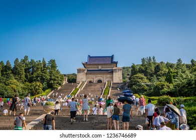 Nanjing / China - July 30th 2015: Sun Yat-sen Mausoleum at Purple Mountain in Nanjing. Sun Yat-sen was Chinese revolutionary and the first president of China, venerated as Father of the Nation.