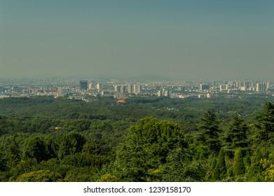 Nanjing / China - July 30th 2015: Nanjing city skyline, view from the Purple mountain (Zijin Shan)