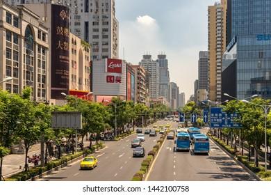 Nanjing / China - July 30th 2015: Downtown city center of Nanjing, capital of Jiangsu province of the People's Republic of China