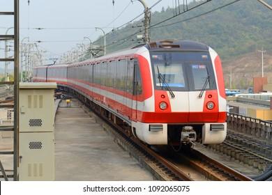 NANJING, CHINA - OCT 24, 2015: Nanjing Metro system Line 2 at Terminal Jingtianlu Station. The Metro is serving the city of Nanjing, Jiangsu, China.