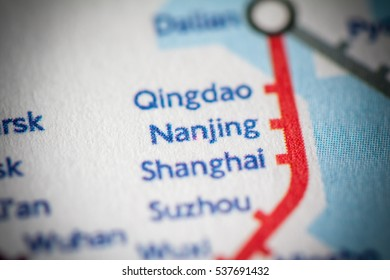 Nanjing, China on a geographical map.