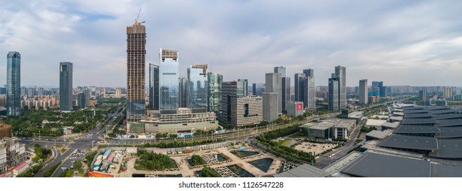 Nanjing, China - on June 27,2018:Aerial view over the Nanjing city, urban architectural landscape