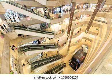 NANJING CHINA-April 30, 2018: consumers shop in the mall of Jiangsu, Nanjing, Eastern China. Young people in China consume more markets and value health and quality.