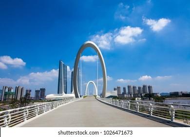 Nanjing City, Jiangsu Province, Nanjing Eye Pedestrian Bridge architectural landscape