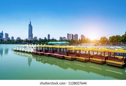 Nanjing Cityscape, China, Xuanwu Lake Financial District.