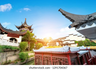 Nanjing Confucius Temple scenic region and Qinhuai River. People are visiting. Located in Nanjing City, Jiangsu Province, China.