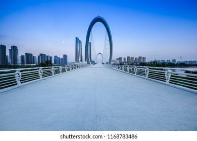 Nanjing Eye Pedestrian Bridge City Scenery, Qingao Village, Nanjing, Jiangsu, China