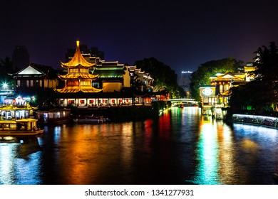 Nanjing, Jiangsu, China: Qin Huai river in the area around Confucius temple scenic area is one of the top touristic places in Nanjing and is beautifully lighted at night
