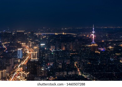 Nanjing Jiangsu Province Jiangsu Province Jiangsu Radio and Television Tower Nanjing Yangtze River Bridge and the city skyline overlooking the bustling night sky