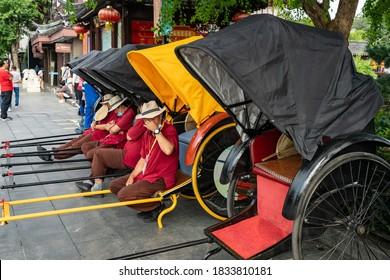 Nanjing, jiangsu,China-September 25, 2020:The rickshaw is in the Confucius Temple scenic spot