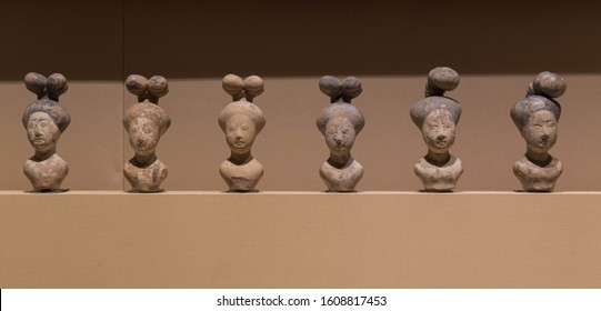 Nanjing - May 16 : Women's hairstyles in the Tang Dynasty on May 16, 2016 in Nanjing, China.  Ancient Chinese Tang Dynasty. A set of ceramic portraits shows Women's hairstyles.
