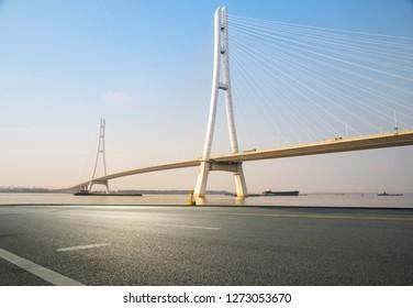 Nanjing Yangtze river bridge and urban highway