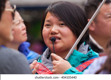 NANJING,JIANGSU,CHINA-MAY 12:Unidentifild guide girl explain history place for tourism on MAY 12,2016 in Changzhou ,Jiangsu,China