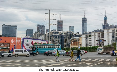 Nanning, China - Nov 1, 2015. Cityscape of Nanning, China. Nanning is a large, modern city and a transport gateway for travellers to and from Vietnam.