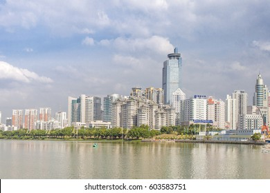 Nanning, China-Nov.9, 2016: Nanhu lake in the capital of the Guangxi, China: Nanning. It has a border with Vietnam and also the Center of China-ASEAN free trade area. Nov.9,Nanning