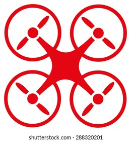 Nanocopter icon from Business Bicolor Set. Glyph style: flat symbols, red color, rounded angles, white background.