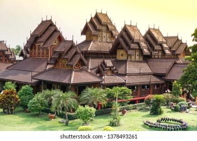 Nantaram Temple is a Tai Yai (Shan-style) at chiang kham, Thailand, April 2018