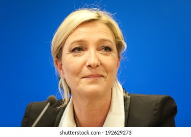 NANTERRE, FRANCE - MARCH 17, 2011: Marine le Pen in press conference at the headquarter of Front national, the political party she leads