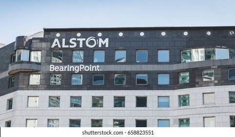 "Nanterre, FRANCE, May 09, 2017 - Close-up on the skyscraper ""ALSTOM"", an office building located in the heart of the business district of defense, in Paris, France"