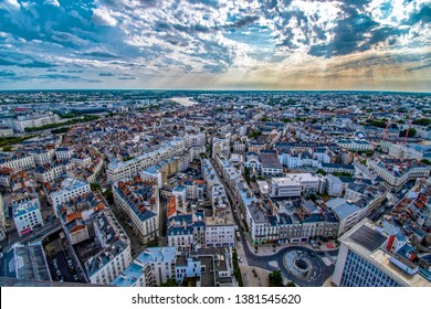 Nantes City in France view from above