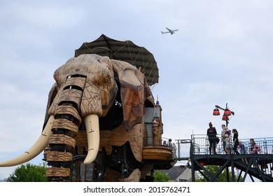 Nantes, France - 26-07-2021 : The great mechanical elephant of nantes