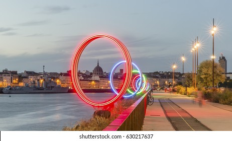 NANTES, FRANCE - AUGUST 18, 2016: Evening view of The Rings of Nantes