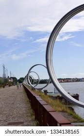 Nantes, France - August 4, 2013: The Rings by Daniel Buren