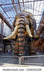 Nantes, France - August 4, 2013: the grand elephant from les machines de l'ile
