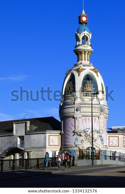 Nantes, France - August 4, 2013: La Tour Lu, Lu Tower - the tower of the former factory and a symbol of the city