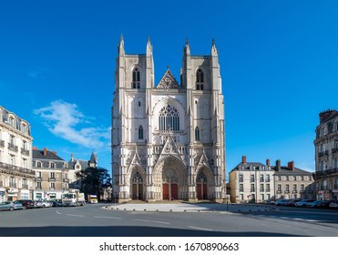 NANTES, FRANCE, - FEBRUARY 17, 2020: Nantes Cathedral, or the Cathedral of St. Peter and St. Paul of Nantes, is a Roman Catholic church located in Nantes, Pays de la Loire, France.