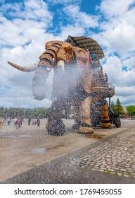 Nantes, France - July 1, 2020: mechanical elephant walking around the the Isle of Nantes